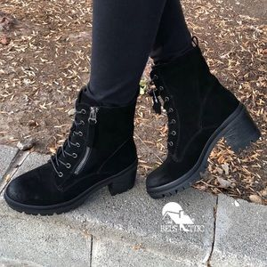 Chunky Heel Genuine Suede Lace Up Combat Boots